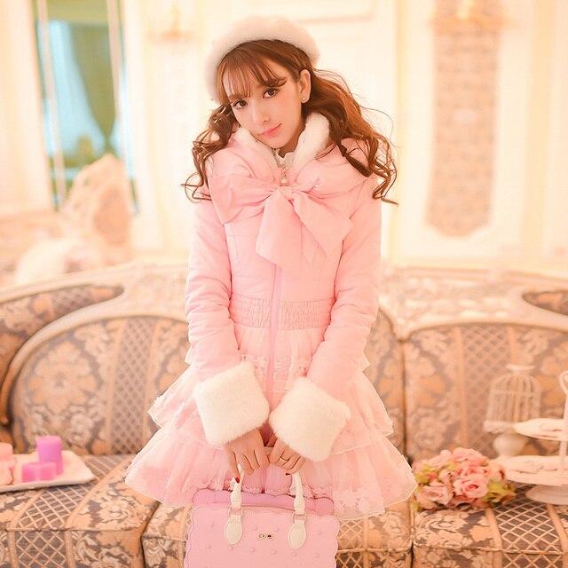 Princess sweet lolita pink cotton coat Candy rain Large bow decoration Fur collar Medium and long style Japanese designC16CD5983
