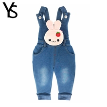 6M-4T Baby Girls Denim Overalls Rabbit Pocket Rompers Infant Toddler Kids Jeans Jumpsuit huarache children Clothes Spring Winter