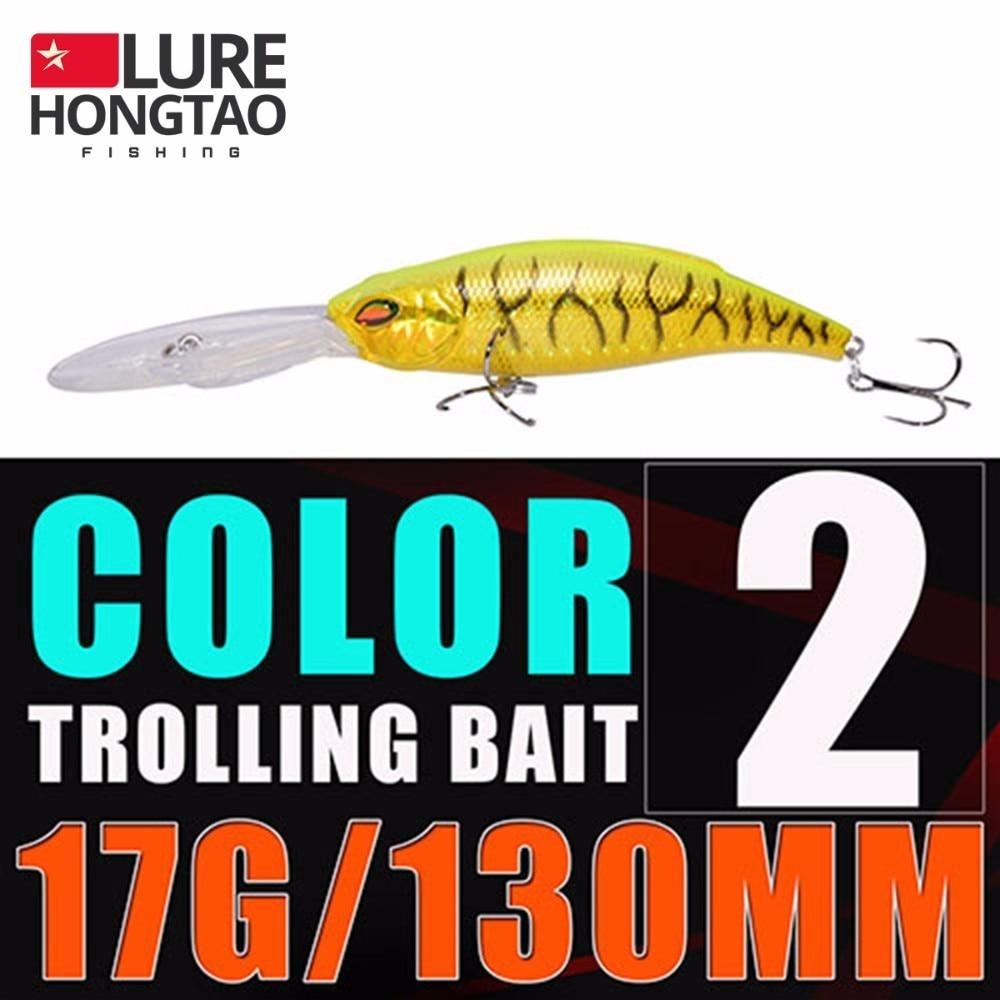 HONGTAO peche Long shot big minnow carp fishing lure hard batis 130mm/17g Boat fishing isca artificial wobbler fish Three hooks