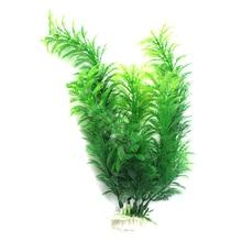 """Plastic Aquarium Decorations 11.8"""" Green Artificial Plastic Plant Grass FishTank Aquarium Ornament Decor"""