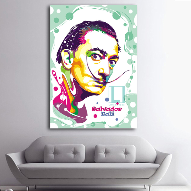 Us 727 48 Offsalvador Dali Graffiti Pop Art Obraz Olejny Portret Twarzy Drukuj Obraz ścienny I Plakaty Do Dekoracji Domu W Salonie W Salvador Dali