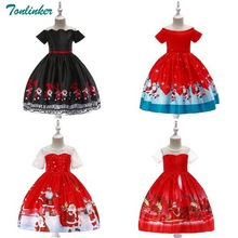 Tonlinker Girl Christmas Dress Kids Snowflake Dresses For Girls Princess baby Rapunzel costume dress Red