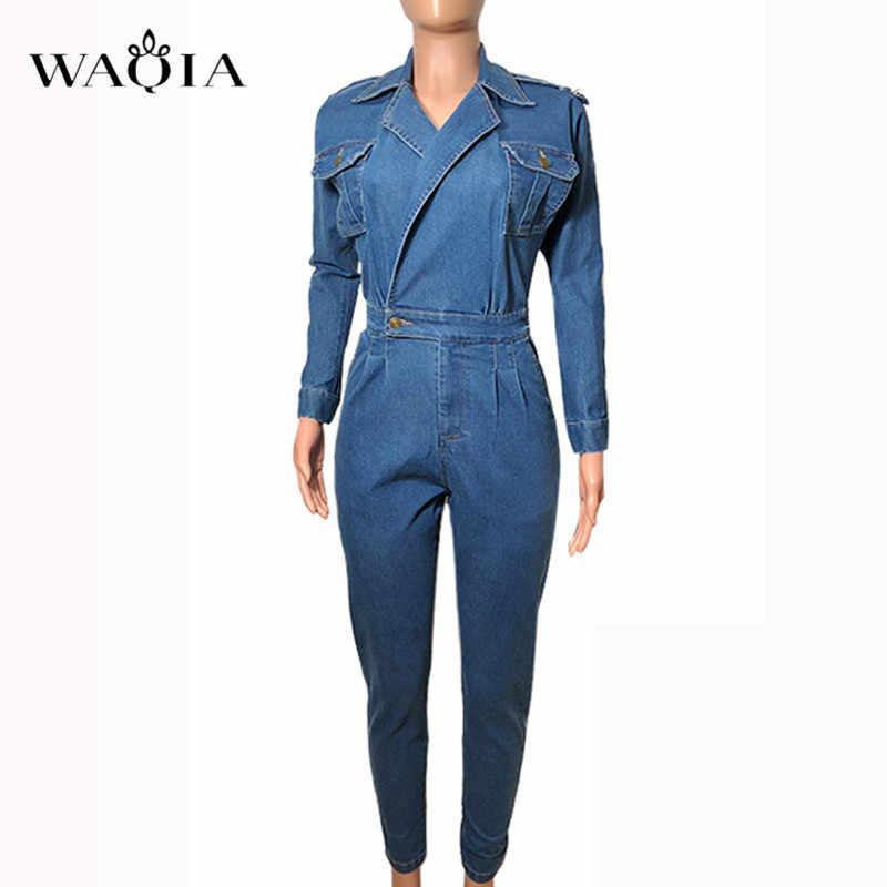 WAQIA 2019 mujeres ropa de primavera monos de Vaqueros cintura alta delgados jerseys de bolsillo de solapa de mezclilla mono de noche Club más tamaño