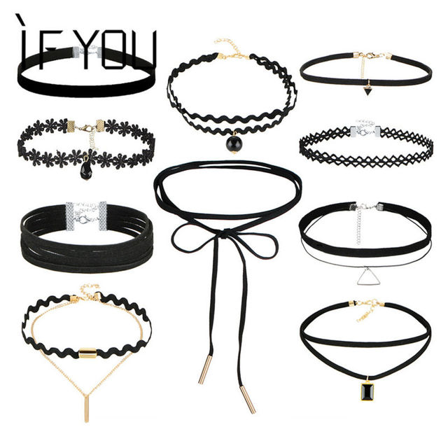 IF YOU 10 PCs/Set Gothic Sexy Black Leather Lace Flower Fashion Hollow Choker Ne