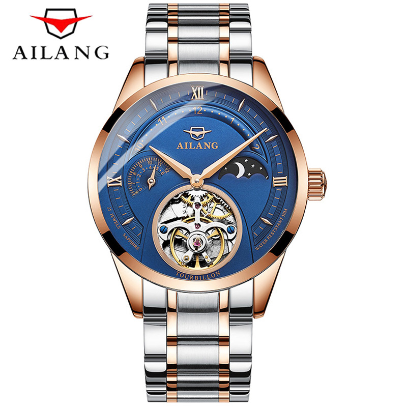 AILANG New Mechanical Watches Men Automatic Moon Phase 50M Waterproof Watch Tourbillon Male Fashion Leather Strap Wrist 2019 AILANG New Mechanical Watches Men Automatic Moon Phase 50M Waterproof Watch Tourbillon Male Fashion Leather Strap Wrist 2019