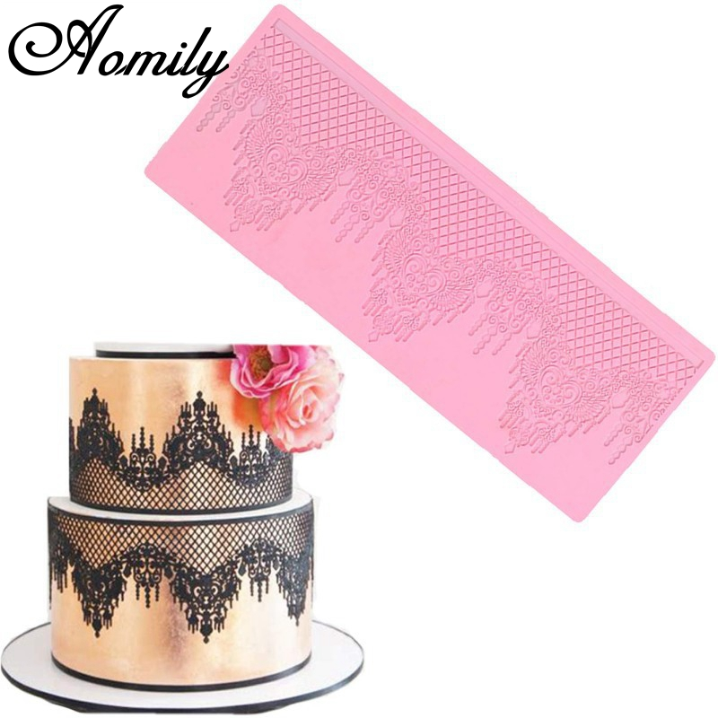 Aomily Lace Jewellery Wedding Cake Silicone Beautiful Lace Fondant Mold Mousse Sugar Craft Icing Mat Pad Pastry Baking Pad Tool-in Cake Molds from Home & Garden
