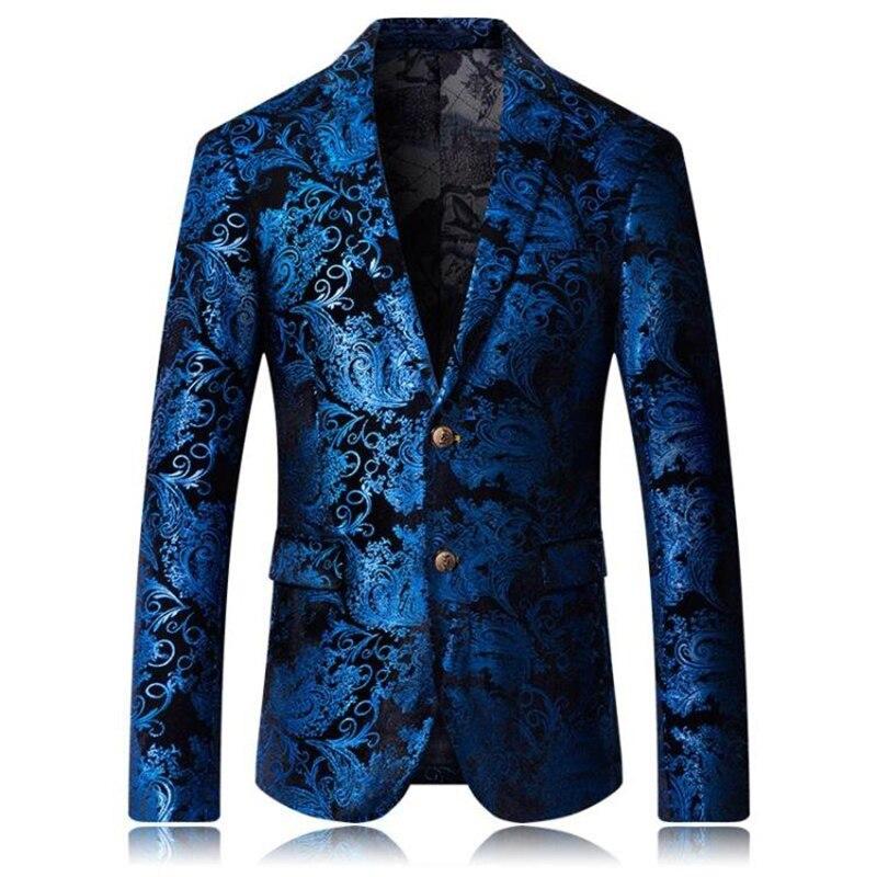 Excellente qualité Designer élégant hommes Jacquard Blazer veste de smoking TV hôte porter grande taille M-6XL