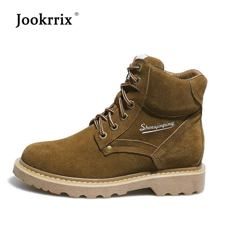 Jookrrix New Fashion British Style Girl Brand Boots Women Shoes Lady Real Leather Boots Martin Boots Cross-tied Girl Ankle Boots 2018 brand design shoes women mixed color chain cross tied women martin boots zip leather ankle botas femeninas casual shoes