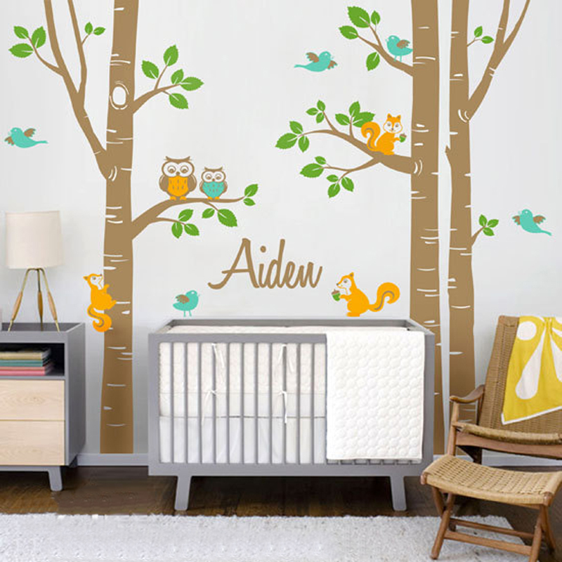 Cute Owl Squirrel Birch Tree Wall Stickers Personalized Name - Vinyl wall decals birch tree