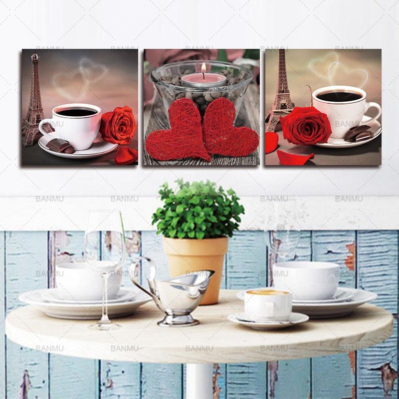 ტილოს ფერწერა 3 ცალი მოდულური ნახატი კლასიკურ ყავაზე ვარდის პლაკატები და ანაბეჭდები სამზარეულოსთვის Wall Art Cuadros Decor
