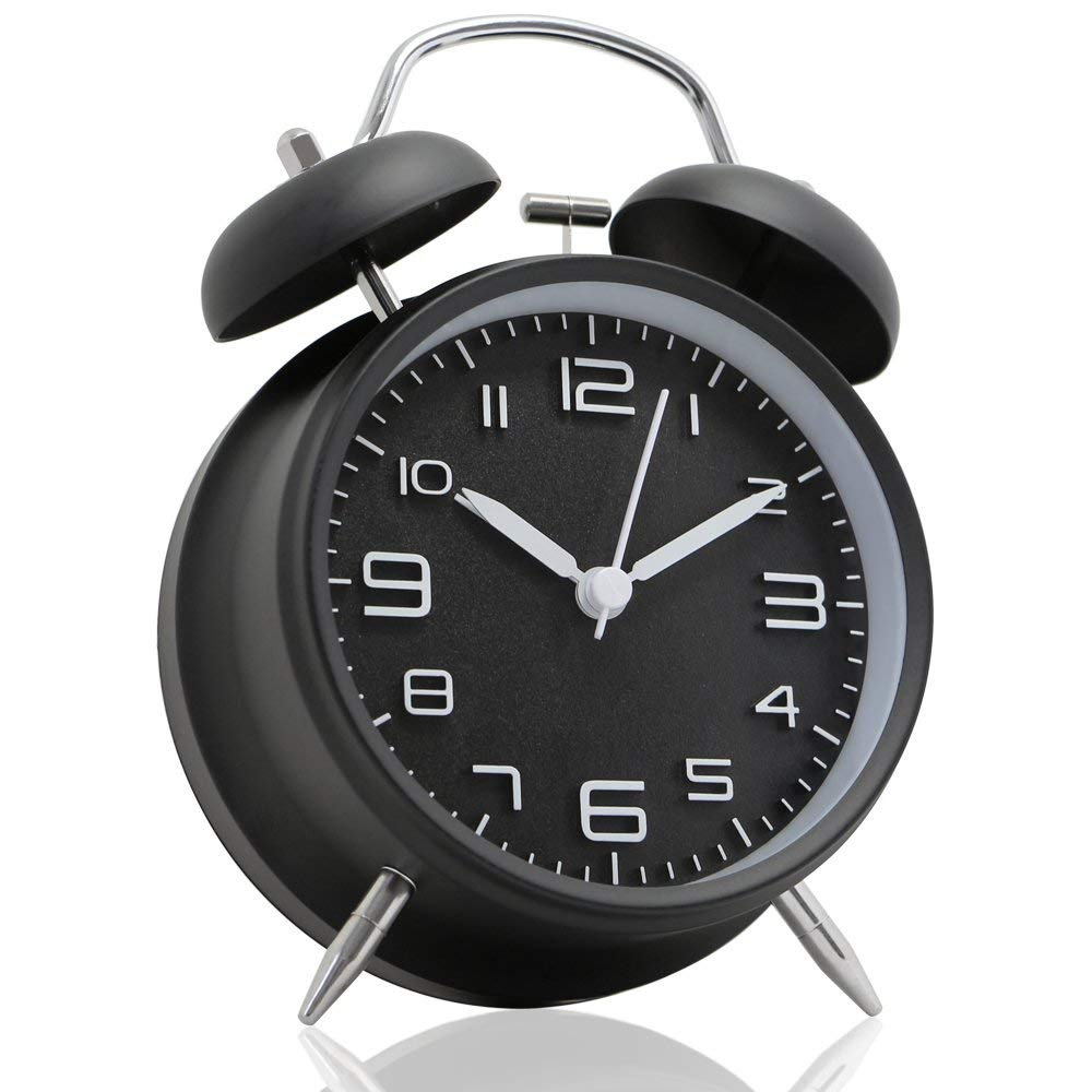 4 inch Twin Bell Alarm Clock Metal Frame 3D Dial with Backlight Function Desk Table Clock for Home & Office black