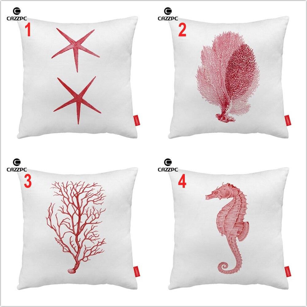 Red Sea Horse Coral Reef Starfish Marine Organism Print Decorative Pillowcase Cushion Covers Sofa Chair Home Decor