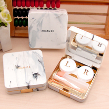 Fashion Soaking Men Women Contact Lens Box Marble surface Sq