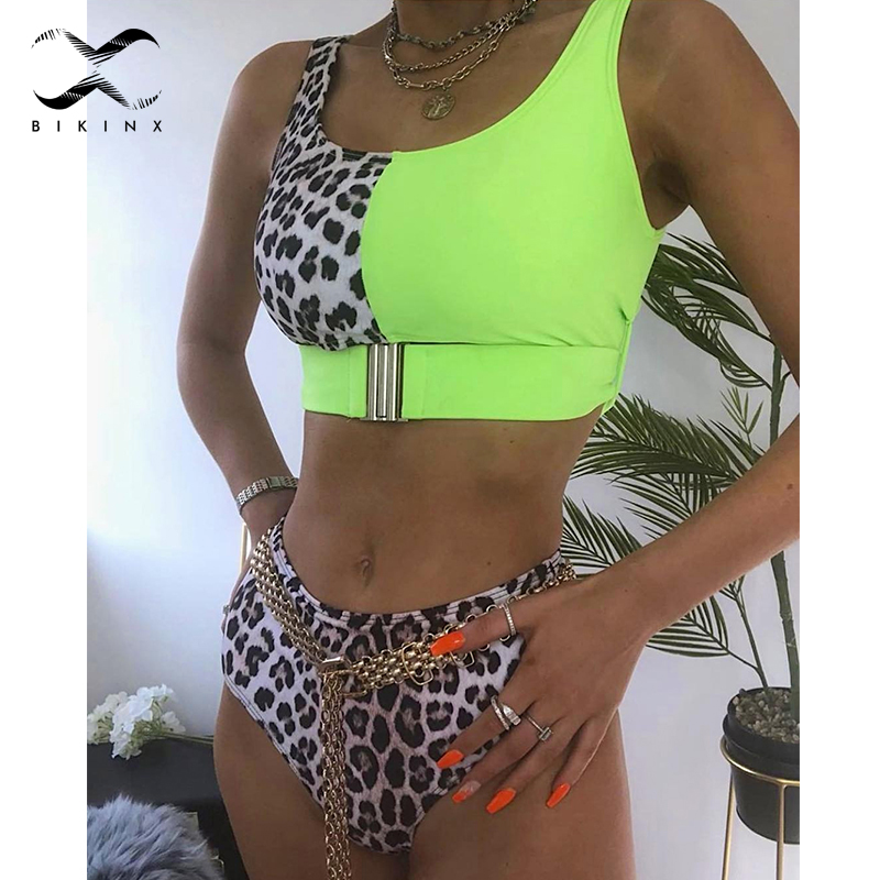Bikinx High Waist Swimwear Women Bathers Leopard Sexy Swimsuit Female Belt Buckle Bikinis 2019 Mujer Push Up Bathing Suit Summer