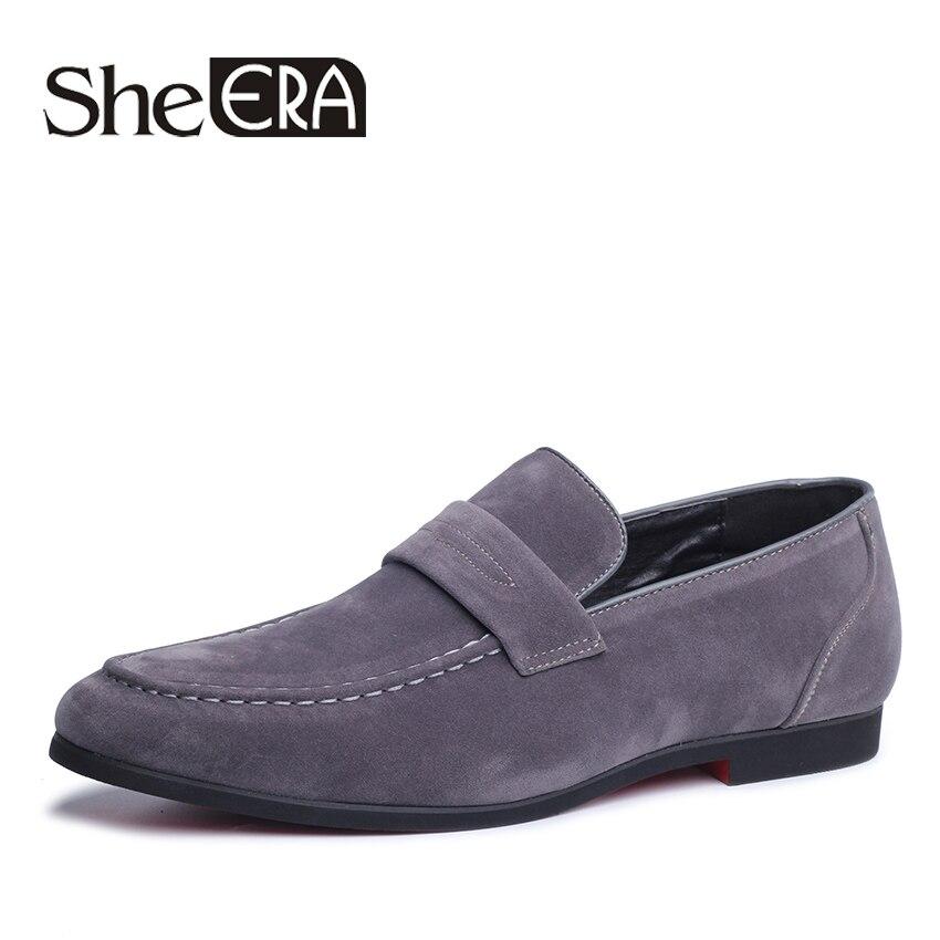 Ela ERA Da Moda Mocassins de Camurça Do Falso Sapatos de Couro Liso dos homens Retro Sapatos Slip-On Respirável Anti-skid sapatas Dos Homens confortáveis