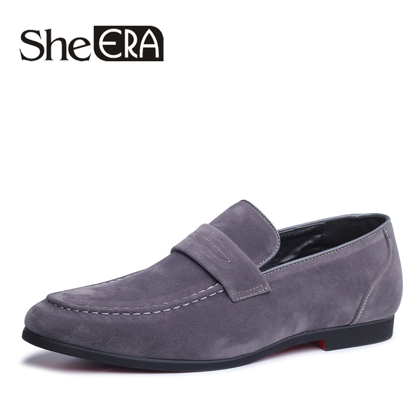 She ERA Fashion Faux Suede Leather Shoes Men's Flat Loafers Retro Slip-On Breathable Anti-skid Shoes Comfortable Men Shoes