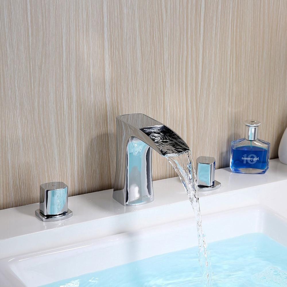 Robinet cascade luxe en laiton double support trois trous pont monté large lavabo robinet Chrome chaud et froid mélangeur