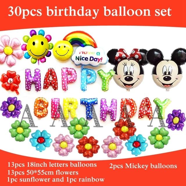 30pcs Foil Balloons Mickey Minnie Head Balloon Happy Birthday Party Letters Ariel Princess