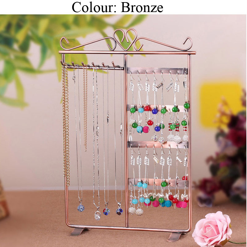 Metal Necklace Earrings Holder Jewelry Organizer Display Rack Stand