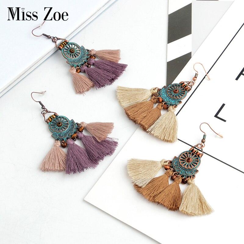 Miss Zoe Mix color tassels drop earrings women Bohemia brown beige purple pink Charms Drop Earrings Women Ear drop Ear jewelry