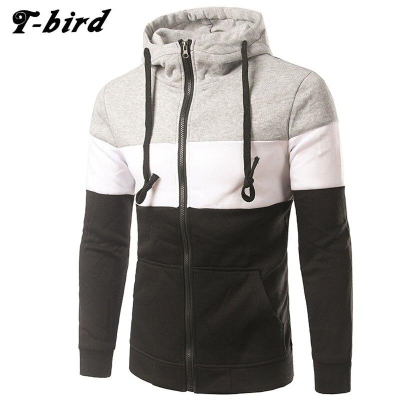 Hoodies Men 2017 Brand Male Long Sleeve Hoodie Three-Color Stitching Mens Moletom Masculino Hoodies Slim Tracksuit ES