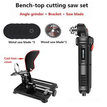 Mini Bench-top Metal Wood cutting saw Electric angle grinder + bracket + saw blade Y