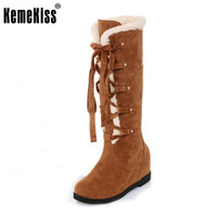 KemeKiss Size 34-40 Cold Winter Snow Boots With Thick Fur Inside Women Cross Tied Height Increasing Shoes Women Gladiator Botas