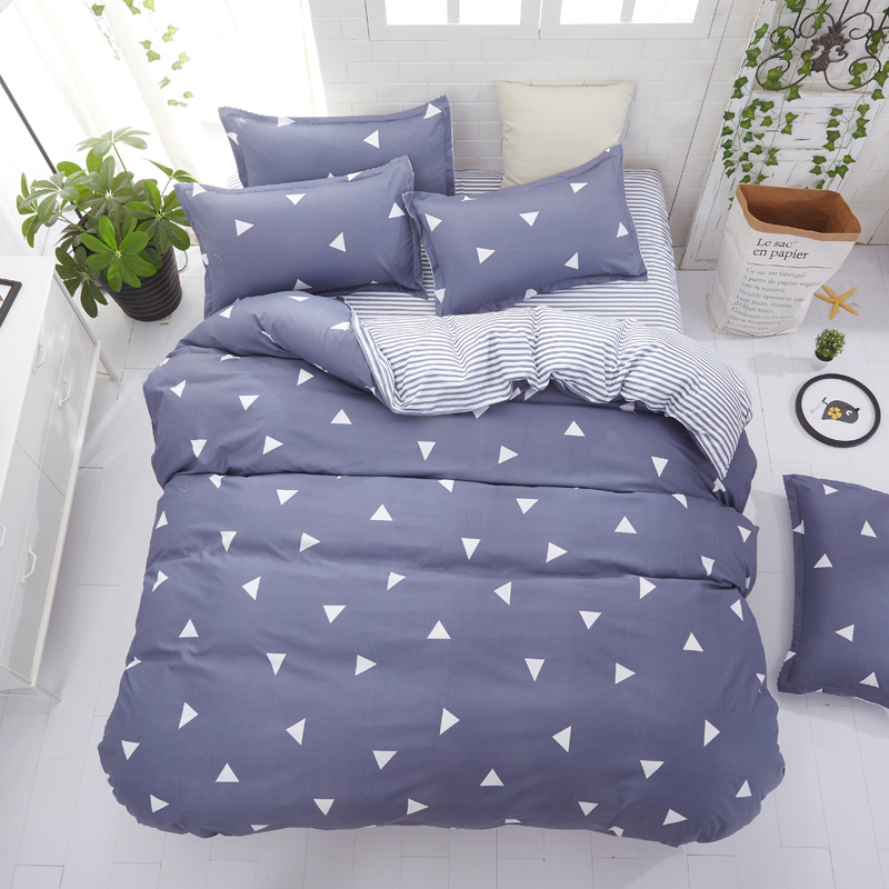 2018 New Home bedding set 3/ 4pcs duvet cover set AB side bed linen flat sheet reversile bedclothes adult Geometric cotton set