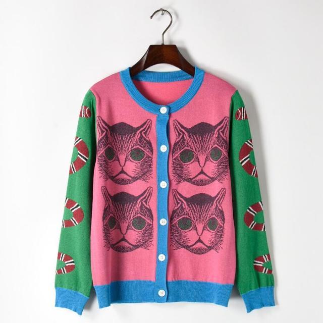 Lanbaiyijia Newest Hot Pink Green Four Cat Fashion Sweaters Women