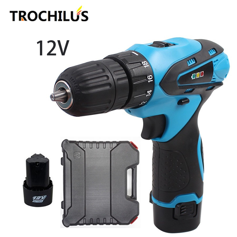 12V Power Tools cordless Screwdriver Multi-function Rechargeable Battery Screwdriver with Lithium Battery * 2 Household Toolbox replacement rechargeable 3 7v 2000mah lithium battery pack with screwdriver for nintendo 3ds