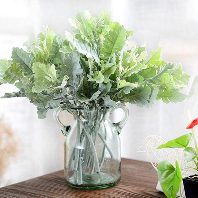 1 pcs artificial fuzzy dusty miller plants leaf fall home wedding