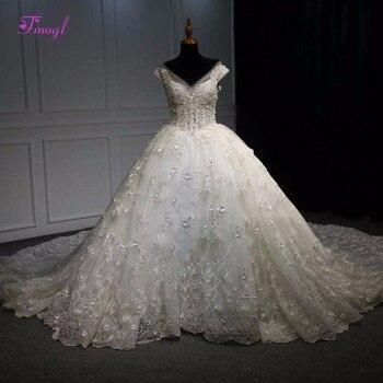 97b790af2d4 Fmogl Новые Великолепные Аппликации Кружева Королевский поезд бальное  платье Свадебные платья 2019 плиссированные v-образным вырезом бисером с.
