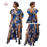 New Fashion African Print Dresses Women Long Dress Bazin Riche Ruffles Sexy Dress Office Vestido Dashiki