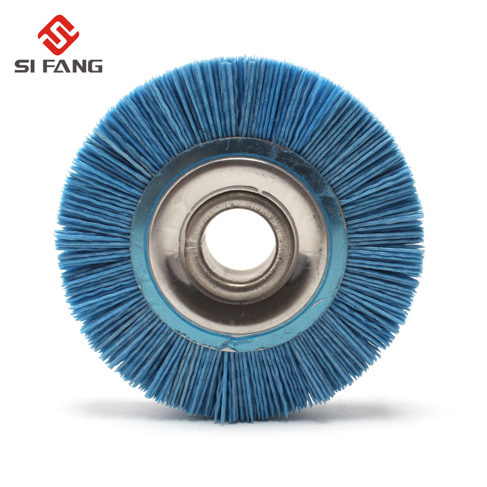 100mm Grit120 Blue Abrasive Nylon Wire Wheel Brush Polish Grinder 20mm Bore Diameter