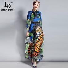 LD LINDA Делла, весеннее модное дизайнерское макси платье, женское длинное винтажное платье с длинным рукавом и бантом на воротнике, цветочный принт с животными