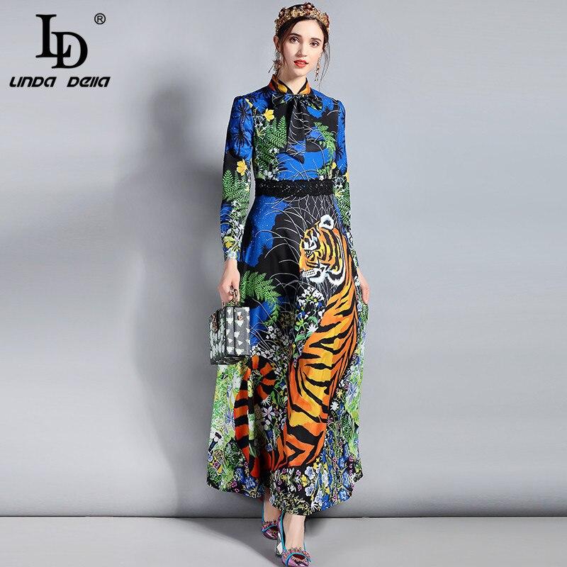 LD LINDA DELLA wiosna mody projektant sukienka w dużym rozmiarze damska z długim rękawem łuk kołnierz kwiatowy zwierząt drukuj długa sukienka w stylu Vintage w Suknie od Odzież damska na  Grupa 1
