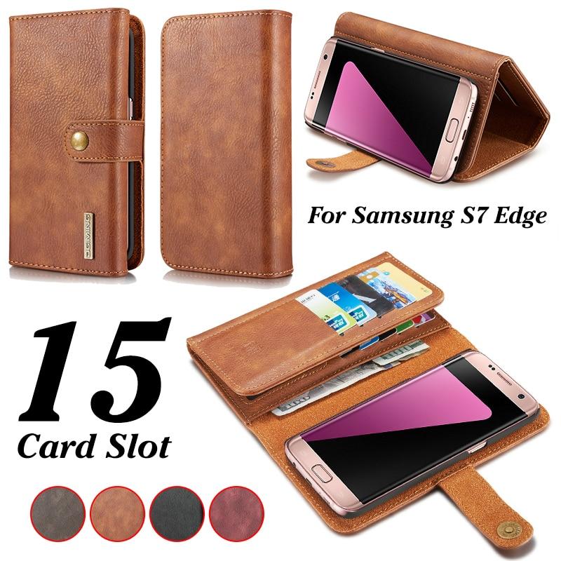 DG. ming слот для карты Бумажник кожаный чехол для Samsung S7 Edge съемная 2 в 1 подставка чехол для Samsung galaxy S7 Edge сумка