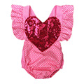Pretty Sequin Heart Baby Girl Rompers Toddler Pink Sunsuit Clothes One Piece Adjustable Braces Playsuit NY55PF