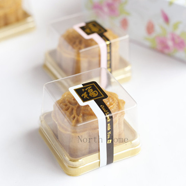 Single Individual Plastic Cake Boxes Golden Bottom Plastic