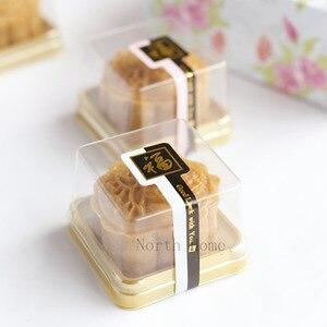Single Individual Plastic Cake Boxes Golden Bottom Plastic Mooncake Pvc Boxes Food Gift Packaging 60-80 G Mooncake