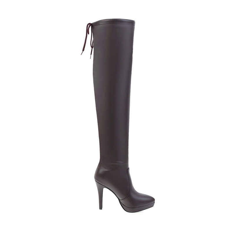 WETKISS 2019 Seksi Bayanlar Diz Çizmeler üzerinde Kadın Yüksek Topuklu Ayakkabılar Kış Sivri Burun Uyluk Yüksek Kadın Ayakkabı Dantel 32-43