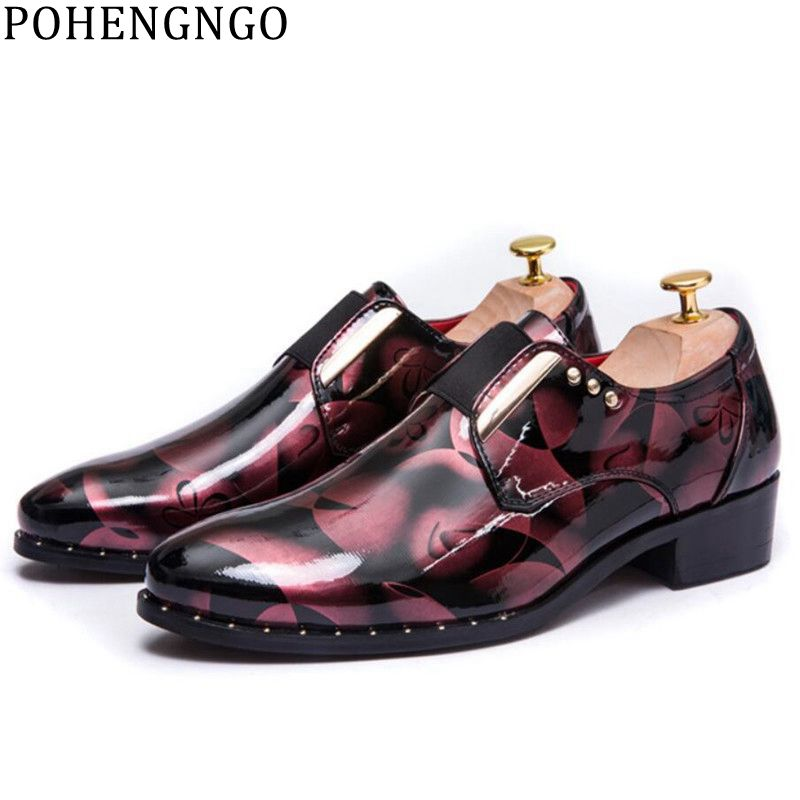 Adroit The New Bright Skin Men Dress Shoes Floral Pattern Men Formal Shoes Leather Luxury Fashion Groom Wedding Shoes Men Oxford Shoes Formal Shoes