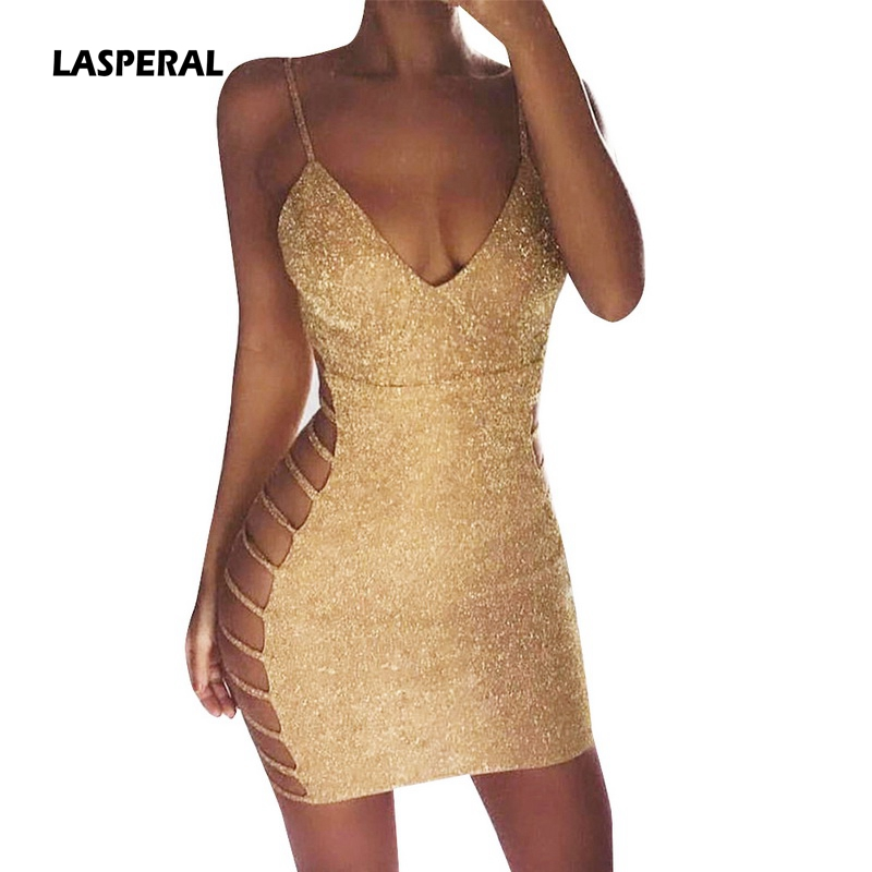 06f0e78fbde0 LASPERAL Deep V Neck Autumn Silver Sequined Backless Sexy Dress Women Off  Shoulder Mini Dress Christmas ...