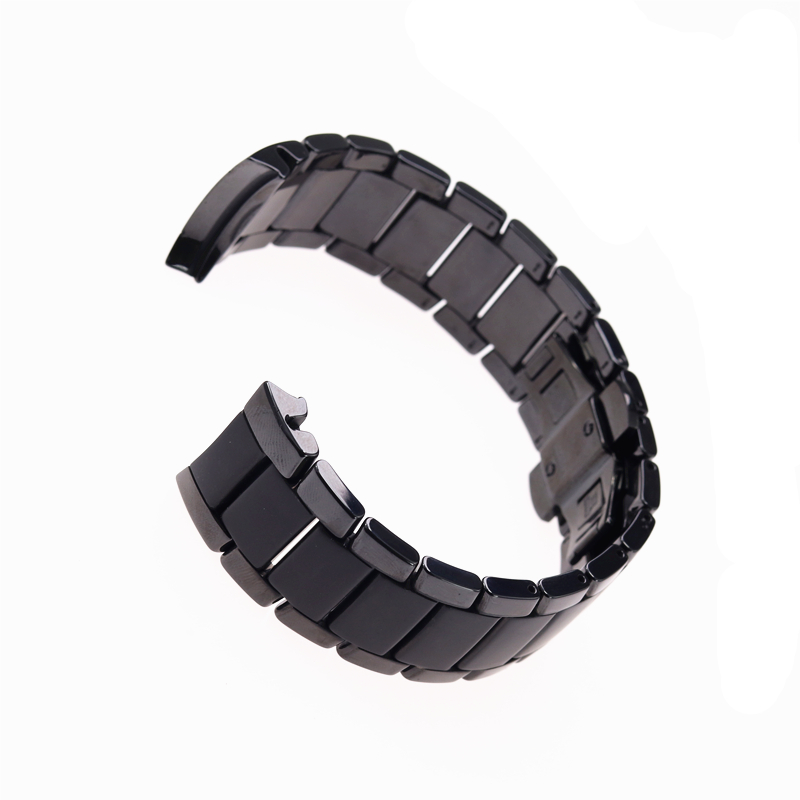 Image 3 - High quality ceramic steel strap 22mm 24mm for Armani watch modelAR1452 AR1451 watchbands black matte strap Replacement bracelet-in Watchbands from Watches