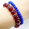 Vintage Classic Lab-created Natural Stone Jewelry Noble Double-layer Sapphires  Rubies  Beaded  Bracelet magnetic clasp 20 cm