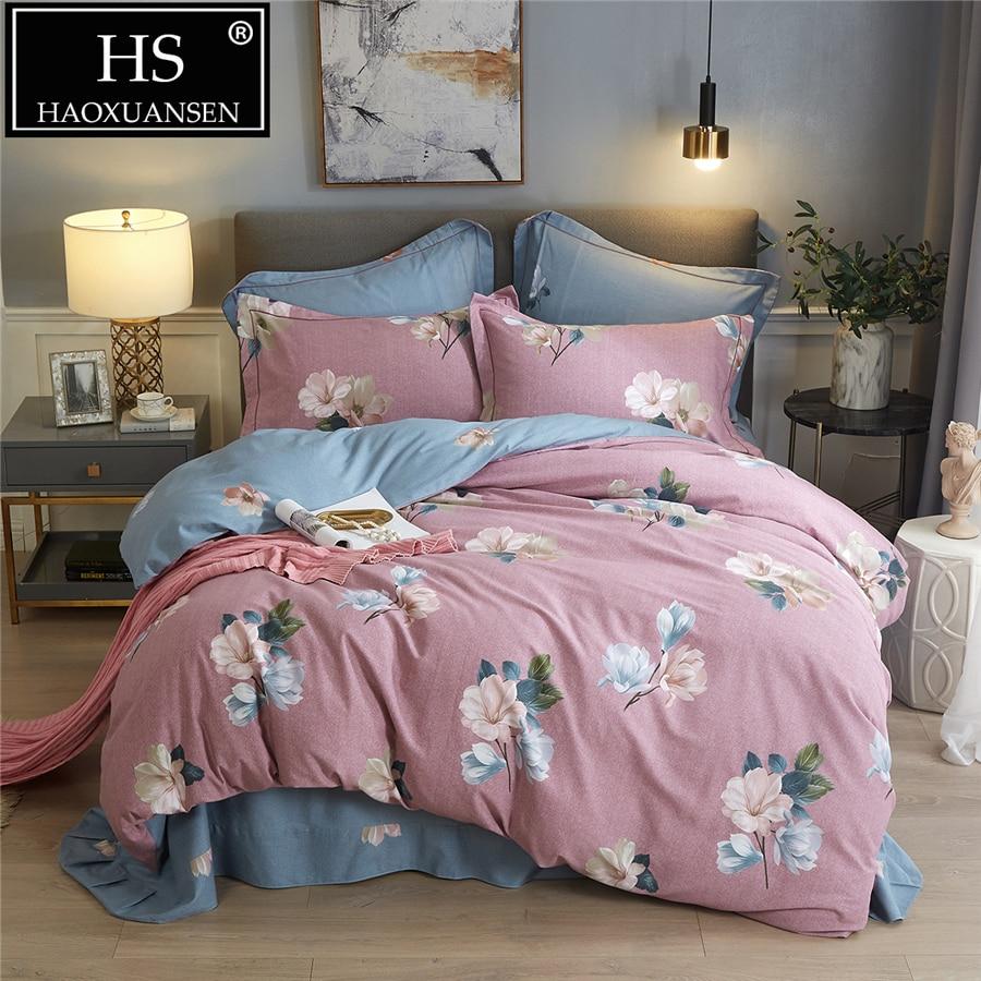 4pcs Floral Print Sanding Brush Cotton Soft Duvet Cover Flat Sheets Shams Set For Autumn Winter Queen King Size