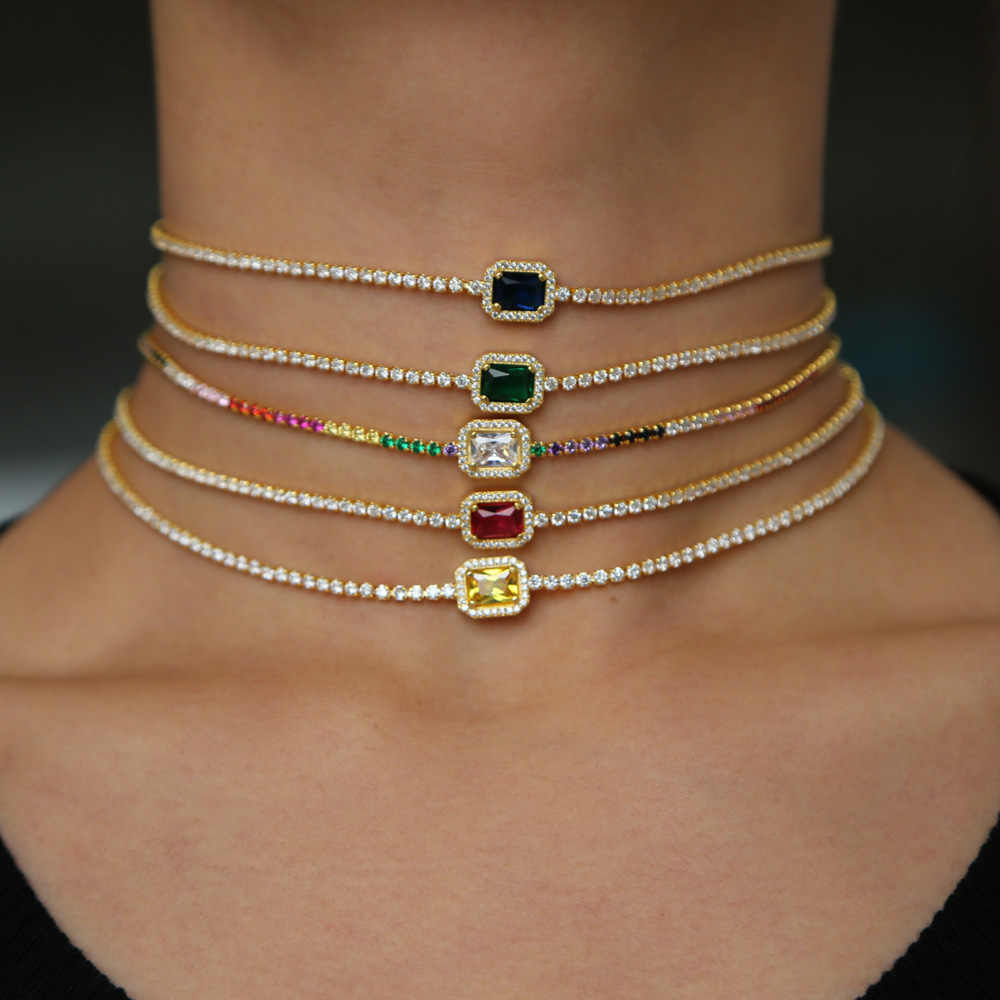 cbb264beb302b 2019 rainbow birthstone cz engagement choker necklace tennis chain gorgeous  dainty fashion women lady elegance gold color chain