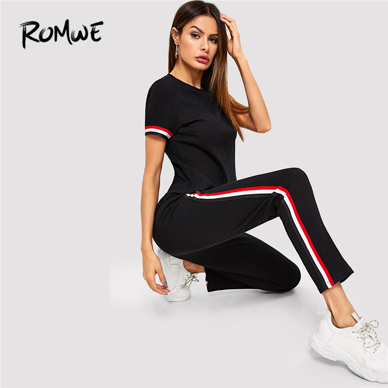 cute cheap well known discount sale US $18.36 42% OFF|Romwe Sport Black Striped Cuff Ribbed Knit Top And Pants  Set Activewear Women Summer Exercise Two Pieces Running Sets Sportswear-in  ...