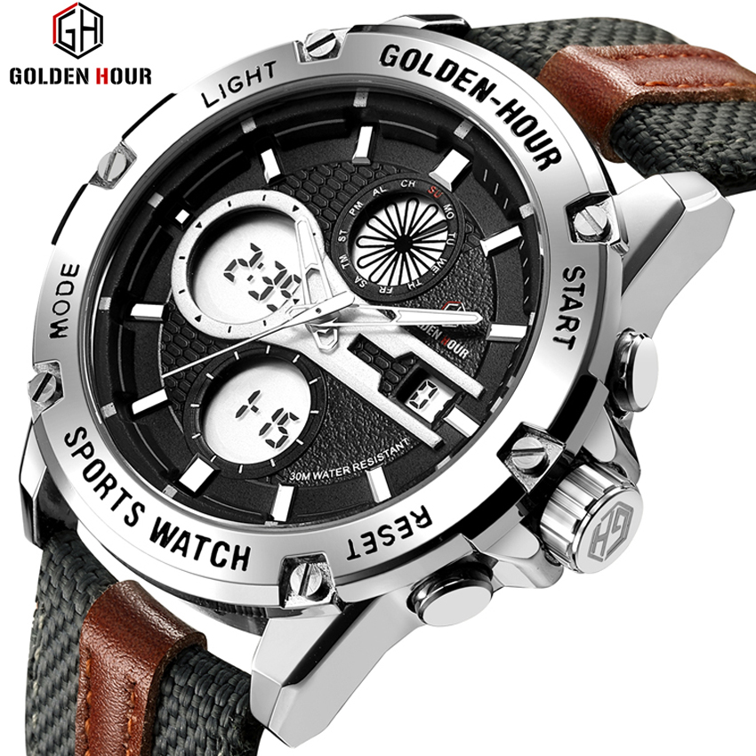e5653a708 GOLDENHOUR Watches Men Sport Digital Analog Waterproof Stainless Steel  Multifunctional Military Fabric Strap Army Wrist Watch