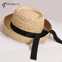 Fibonacci 2019 New  High Quality Summer Raffia Straw Fedoras Fashion Bowler Felt pork Pie Hat for Women Fedora